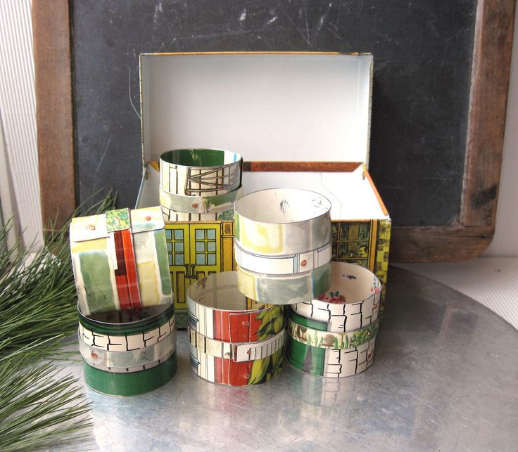6 Tin Napkin Rings, Vintage Doll House Tin, Metal Recipe Box holder Industrial Style, 1950's Doll House, Architectural Tin, 10th Anniversary by eaststreettins on Etsy