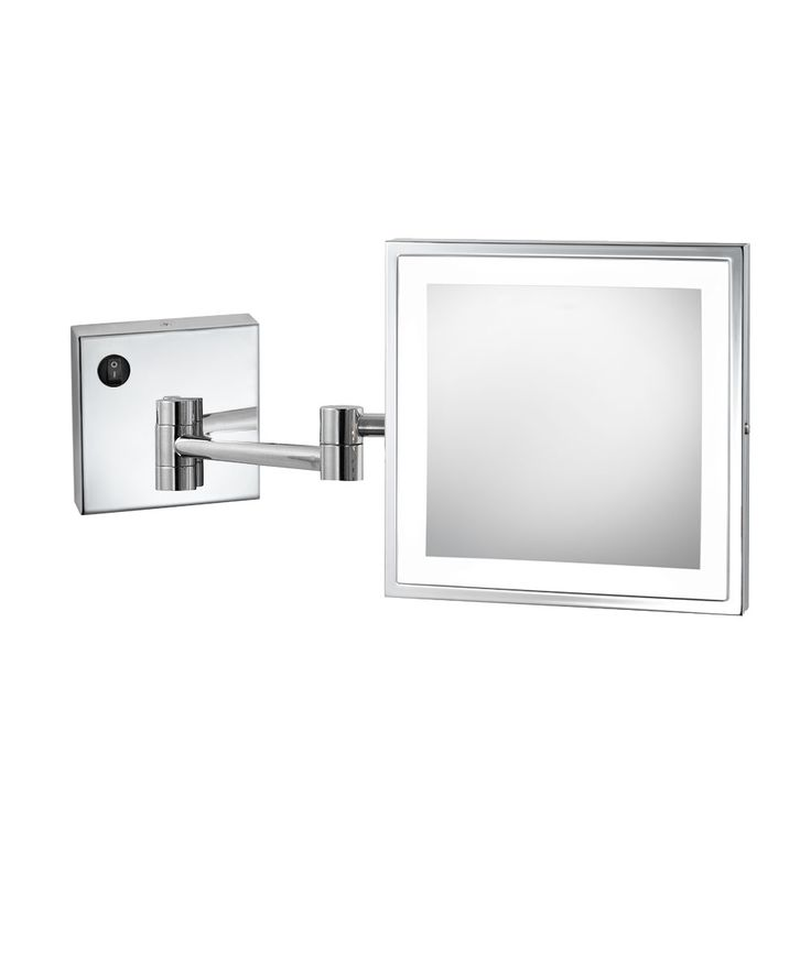 """Elixir™ (EMHL 88 SIL) is an 8"""" square wall-mounted Makeup Mirror, with a perimenter of frosted LED lighting, 5X magnification, and two styles of finishes. (Available for Residential Orders)"""