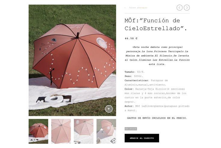 """"""" Función de Cielo Estrellado"""".Paraguas Sinvergüenza pintado a mano por MÔf. www.moflasinverguenza.com"""