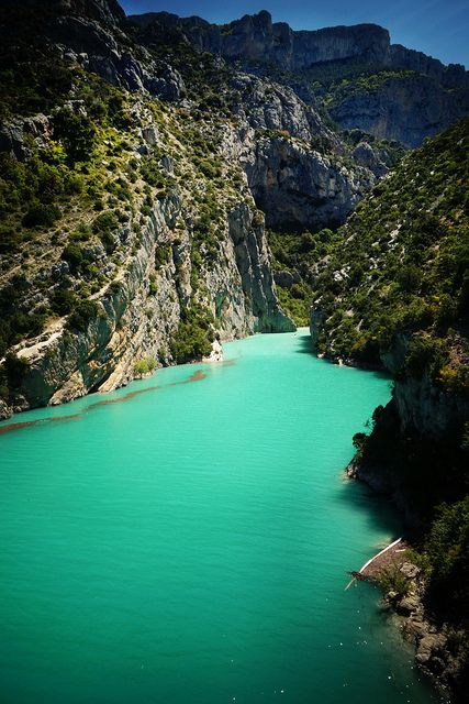 Gorges du Verdon  France  (the colouring is accurate, it's insane bright!)