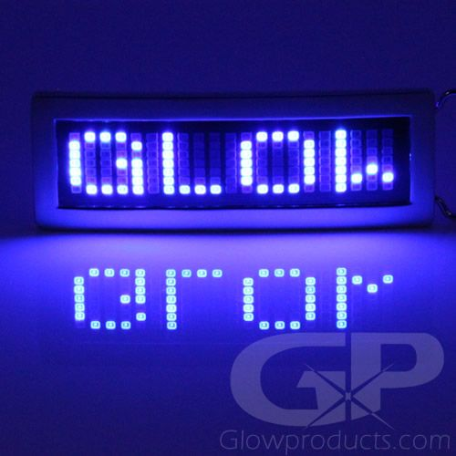 Scrolling Text Belt Buckle with Glowing Blue LED Lights - https://glowproducts.com/us/scrolling-text-led-belt-buckles #GLOW