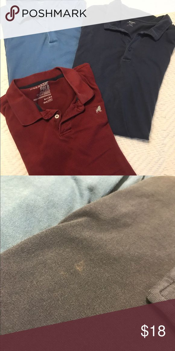⚡️FLASH SALE⚡️Lot of 3 polo shirts Old Navy polo shirts- all size large.  Very small discoloration on navy blue shirt but not noticeable when worn Old Navy Shirts Polos