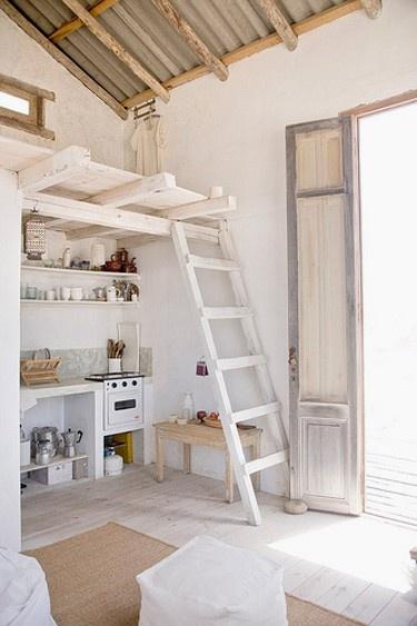 Weathered wood and white, rustic, mini kitchen,loft, galvanized roof