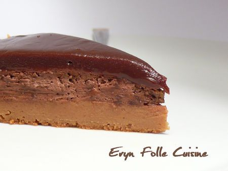 """""""Le Dynamite"""" caramel & chocolat (Un fondant ricotta & caramel à la fleur de sel, une fine mousse chocolat noir (avec éclats de chocolat noir pour qui veut), un caramel chocolaté)"""