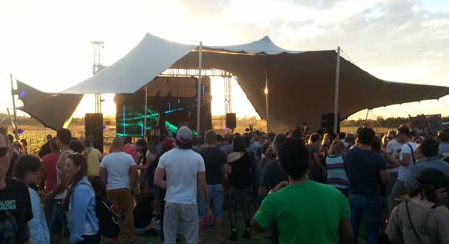 An outdoor events stage cover for Make-Believe: 15mx10m