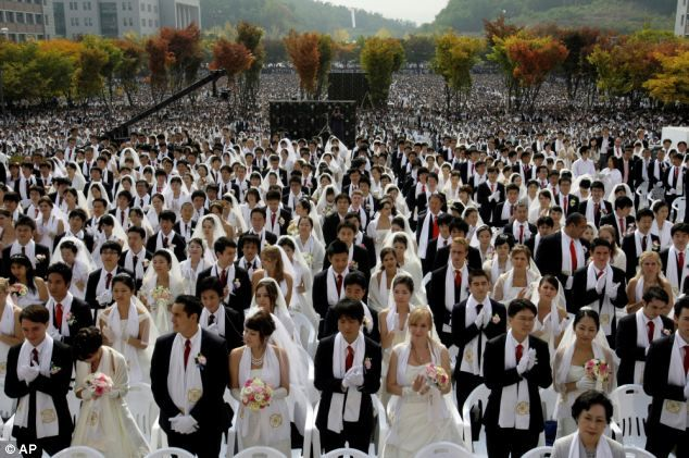 The Unification Church (Mooneyism) is a new religious movement started by Sun Myung Moon in Korea in the 1940s. (2012) Couples from around the world participate in a mass wedding ceremony arranged by the Rev. Sun Myung Moon's Unification Church at Sun Moon University in Asan