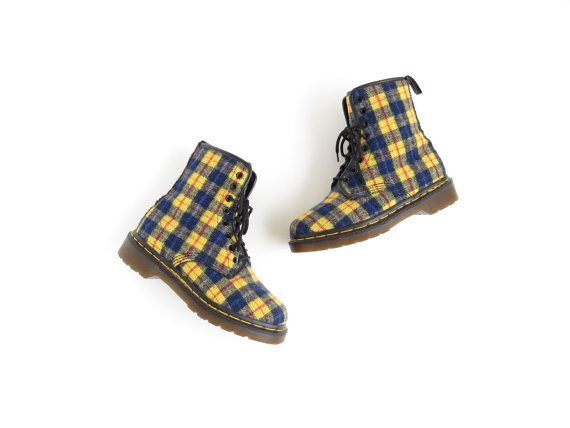 Dr Martens Boots Plaid Doc Martens Flannel Tartan 90s Grunge Boots Yellow Blue Fabric Boot Vegan Boots Textile Boot Women US 5, EU 35, UK 3