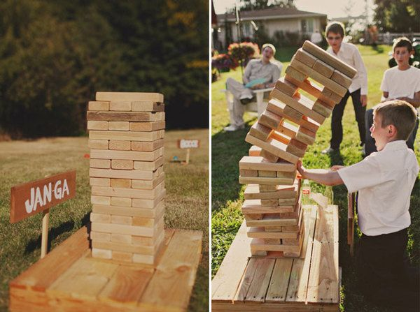 Giant Jenga yard game at wedding, featured on The Pink Bride www.thepinkbride.com {The Best Yard Games for Your Wedding}