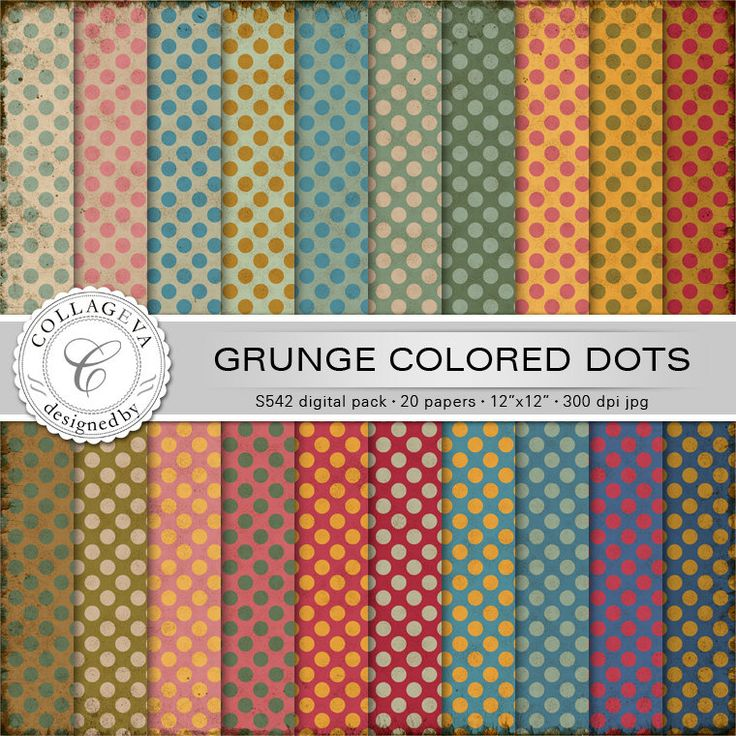 """Grunge Colored Dots Digital Paper Pack, 20 printable sheets, 12""""x12"""" Scrapbook Polka dots Vintage colors green ocher beige red blue (S542) by collageva on Etsy"""