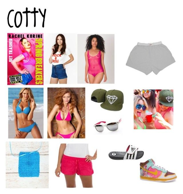 """""""Spring Breakers: Cotty"""" by mary99pink ❤ liked on Polyvore featuring American Apparel, Victoria's Secret, Diamond Supply Co., CO, adidas and NIKE"""