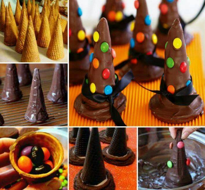 Witches hat for halloween Ice cream cone filled with lollies, biscuit & cone dipped in chocolate