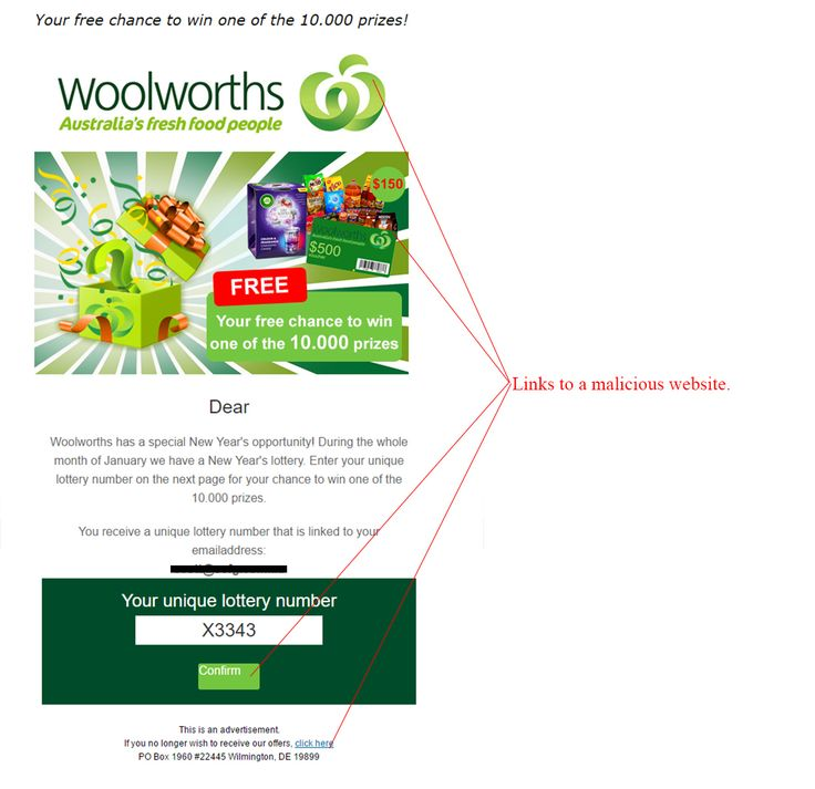 Woolworths Lottery Competition Scam - http://www.mailshark.com.au/recent-security-news/woolworths-lottery-competition-scam-24273