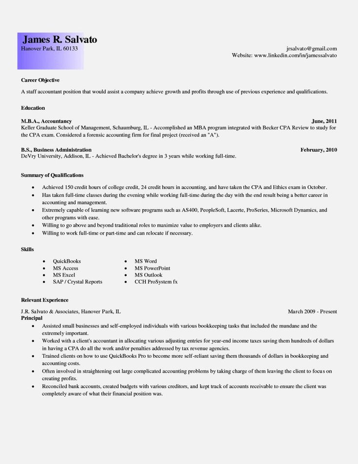 315 best resume images on Pinterest Resume templates, A letter - resume sample for accountant