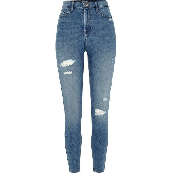 River Island Mid blue rip Harper high waisted skinny jeans (990 ZAR) ❤ liked on Polyvore featuring jeans, pants, bottoms, blue, skinny jeans, women, denim skinny jeans, distressed jeans, high-waisted jeans and blue skinny jeans