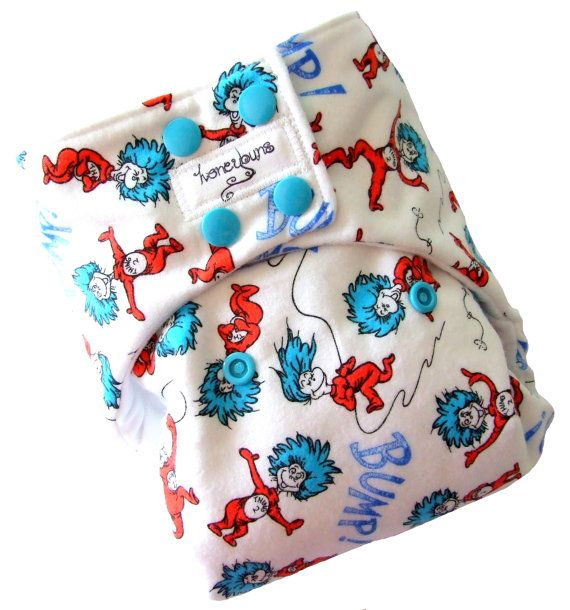 Thing 1 and 2 Dr Suess One Size Cloth Diaper WWW.HONEYBUNSCLOTHDIAPERS.COM