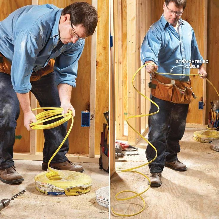 Uncoil Cable Without Kinks - 9 Tips for Easier Home Electrical Wiring: http://www.familyhandyman.com/electrical/wiring/tips-for-easier-electrical-wiring#1