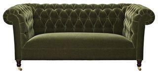 Green Velvet Chesterfield Sofa - eclectic - sofas - by Splendid Willow
