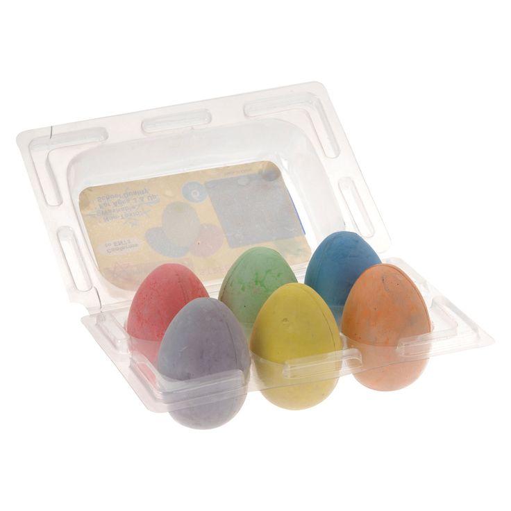 Set van 6 kleuren stoepkrijt in de vorm van een ei.