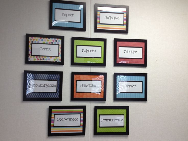 Profile wall decorating my principal39s office school for Decorating office ideas