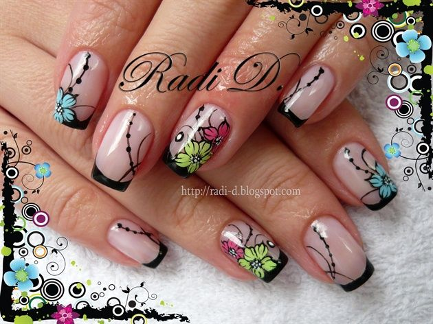 Black french and flowers by RadiD - Nail Art Gallery nailartgallery.nailsmag.com by Nails Magazine www.nailsmag.com #nailart