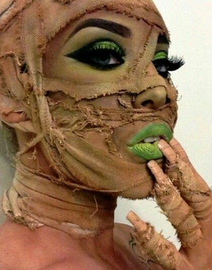 """Mummy Dearest"" sexy mummy costume and makeup for Halloween."