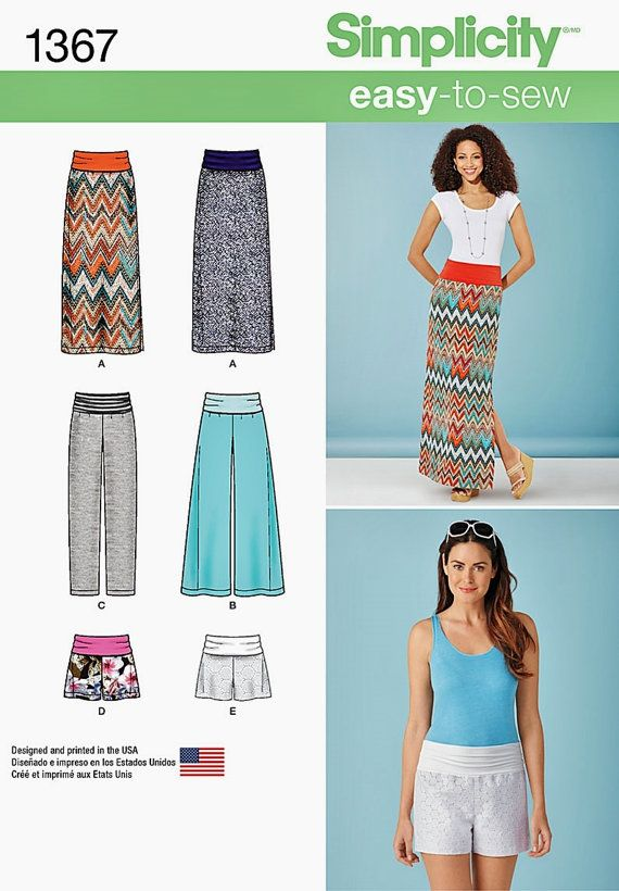 Knit Yoke Pants Pattern Long Skirt Pattern Wide Leg by blue510