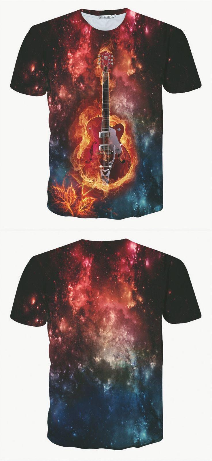 2017 Brand Clothing Slim T Shirt Men Metallica T-shirt 3D Rock Guitar Print Summer Hip Hop T-shirt Tops Tee