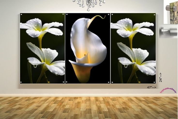 Wall Art in Floating Acrylic Glass Plexiglass Modern Art  3 Panel Black & White #Modern