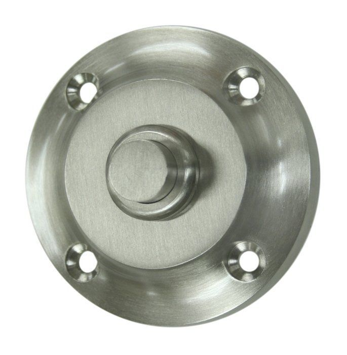 "Deltana BBR213 2-1/4"" Round Contemporary Solid Brass Bell Button Satin Nickel Door Accessory Door Bell Door Bell"