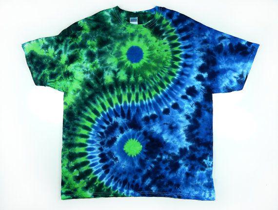 Yin and Yang Symbol / Adult Tie Dye Shirt  / Green & Blue / Eco-friendly