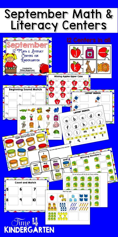 Kindergarten Calendar S S : September math and literacy centers for kindergarten