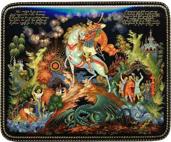 dobrynya & the dragon lacquer art by dmitry bonokin palekh