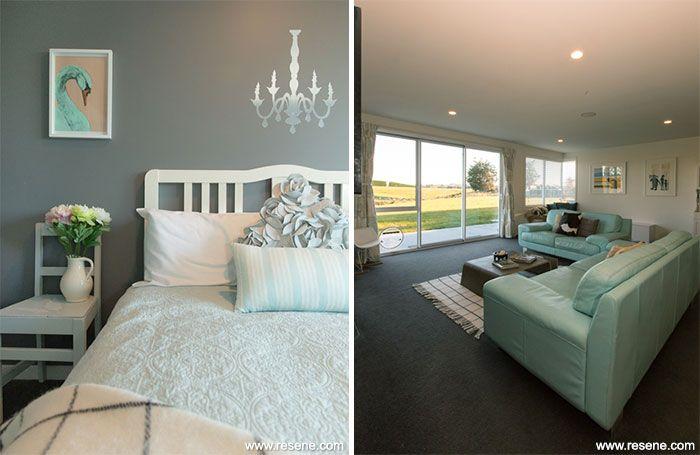 Resene Quarter Fuscous Grey in bedroom and Resene Half Milk White in the living area