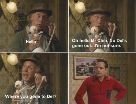 Grandad (played by Lennard Pearce 1915-1984), and Del Trotter (portrayed by Sir David Jason) in 'Only Fools & Horses'