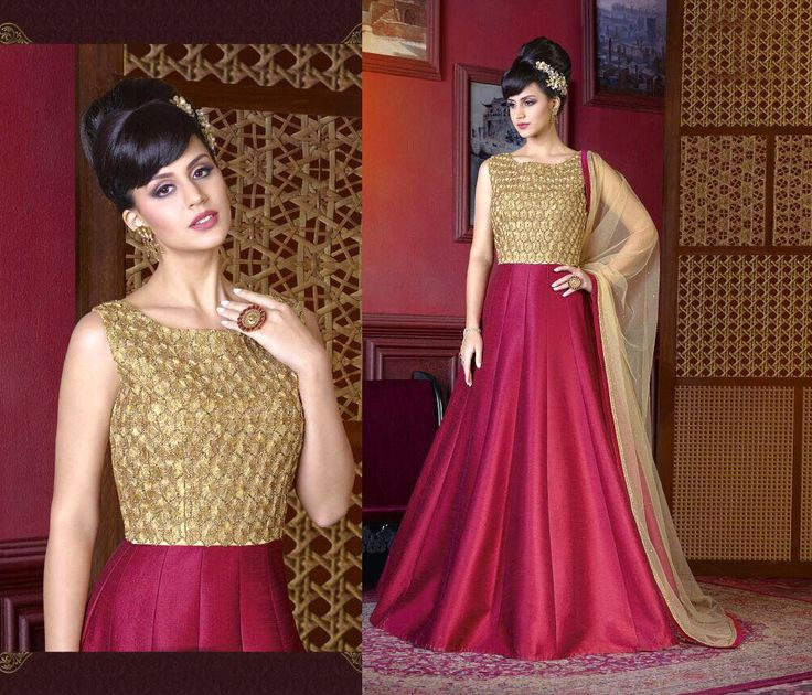 latest maroon silk wedding gown style anarkali suit