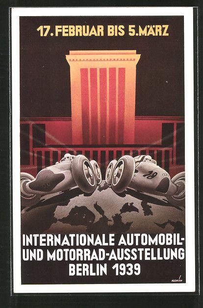 old postcard: Künstler-AK Berlin, Internationale Automobil- und Motorrad-Ausstellung 1939, Rennautos