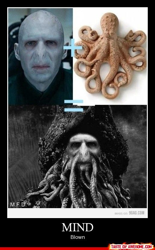 I keep seeing this and it couldn't be more wrong! Ralph Fiennes=Voldy and Bill Nighy= Davy Jones! My HP and POTC nerdiness can't stand it anymore!