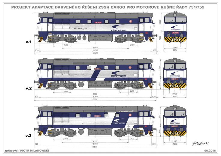 ZSSK Cargo (SK) unified paintscheme adjustment design for 751 / 752 series diesel locomotives (2016); worked out by Piotr Kilanowski.