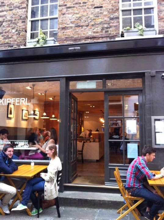 Kipferl: Lovely Austrian Café in Angel. From Wiener Schnitzel to Strudel and Sachertorte, this place will make any Austrian feel right at home. Plus it's very stylish too. http://www.kipferl.co.uk/