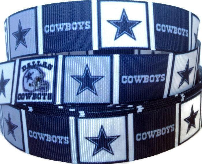 7/8 inch Grosgrain Dallas Cowboys Star NFL Football Ribbon, Grosgrain by the Yard, Cowboys Ribbon, Ribbon By The Yard by KC Elastic Ties