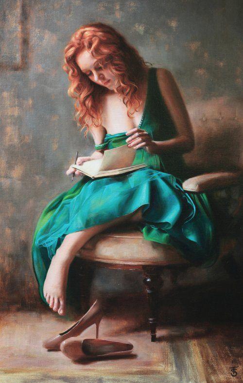 As belas pinturas de mulheres com um toque renascentista de Tina Spratt