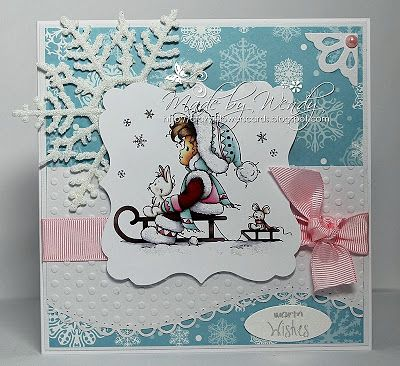 beautiful Christmas card love the embossed decorative layer super with this Hobby House topper