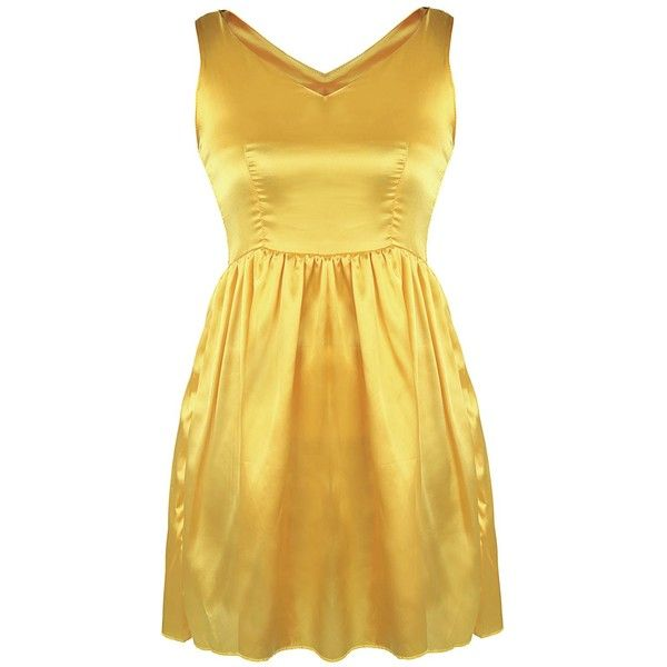 Satin Mini Cocktail Night Out Dress ($14) ❤ liked on Polyvore featuring dresses, cocktail dresses, mini dress, evening party dresses, yellow party dress and holiday dresses