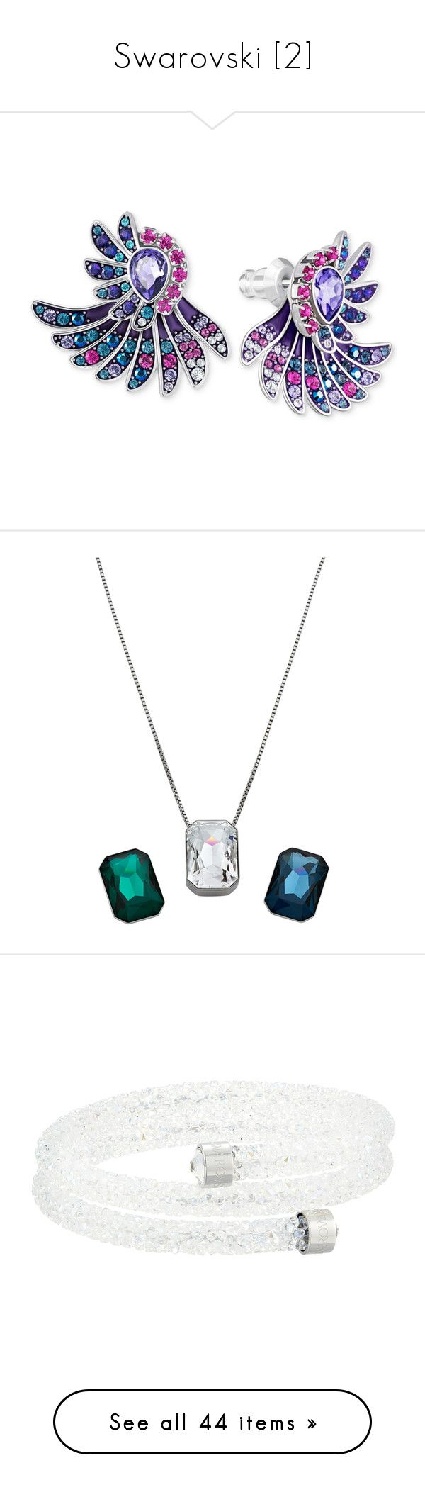 """""""Swarovski [2]"""" by trickpink ❤ liked on Polyvore featuring jewelry, earrings, multi, stud earrings, multicolor earrings, multi color earrings, silvertone earrings, mixed metal earrings, necklaces and white"""