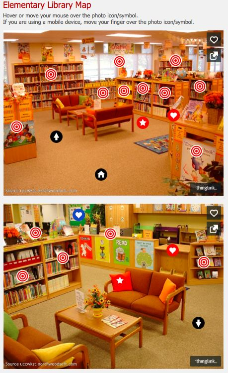@Thinglink  Elementary Library Maps: Lots of Examples - http://www.bgcsedu.org/BGS/Students/Library/LibraryMaps/ElementaryLibraryMap.htm