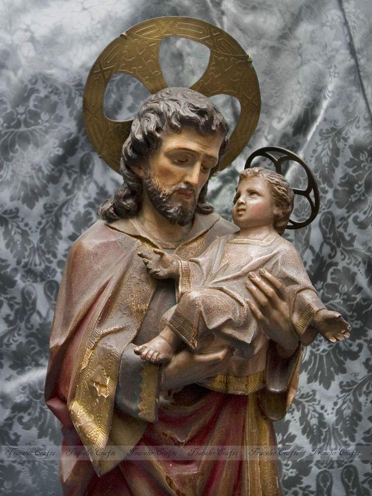 26 antique christian carved wood statue saint joseph holding baby jesus cas antiques. Black Bedroom Furniture Sets. Home Design Ideas