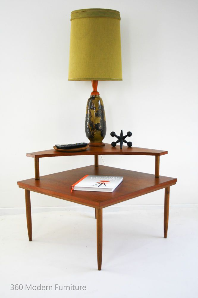 Mid Century Coffee Table Side Teak Corner 2 Tier Retro Vintage Parker  Danish Era | 360 Modern Furniture | Mid Century Furniture By 360 Modern |  Pinterest ...
