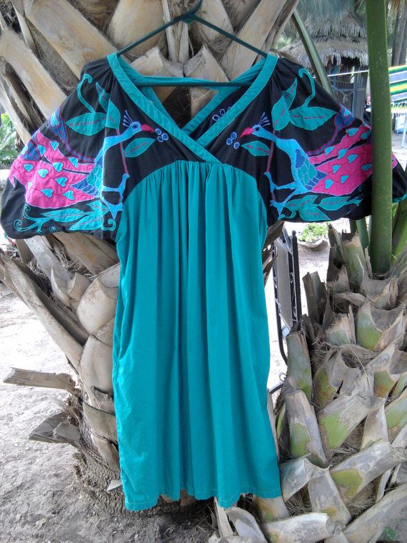 Rare Mexican Huipil Dress  Womans Large by TradewindsFolkArt