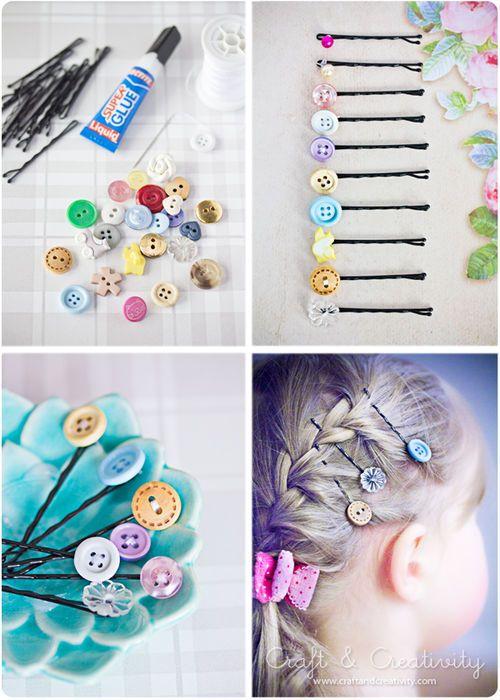 Cute Hair Pins (hair pins,buttons,sew,glue,cute,diy)