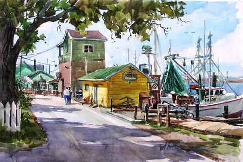 Tony Van Hasselt created this beautiful rendering of the Yacht Basin in Southport.